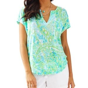 Lilly Pulitzer Any Fins Possible Duval Linen Top